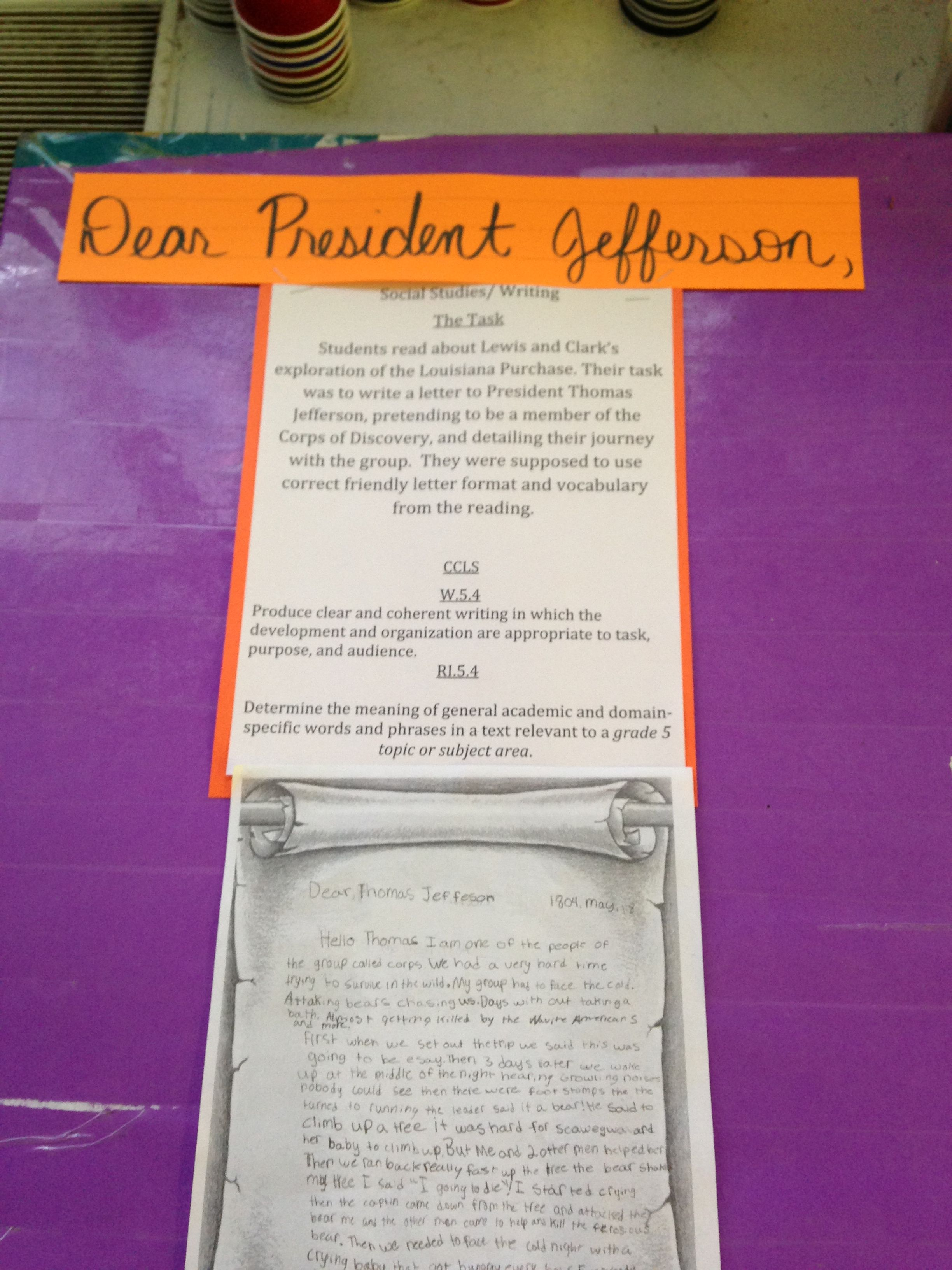 Students Wrote Letters To President Jefferson Detailing