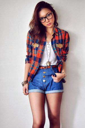 simple amp casual plaid shirt denim high waisted shorts