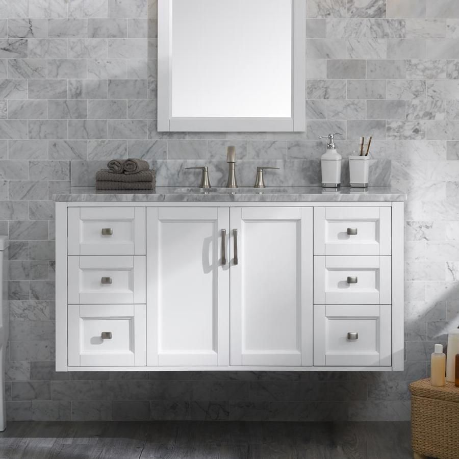 Allen Roth Floating 48 In White Single Sink Bathroom Vanity With Natural Carrara Marble Top Lowes Com Bathroom Vanity Single Sink Bathroom Vanity Amazing Bathrooms