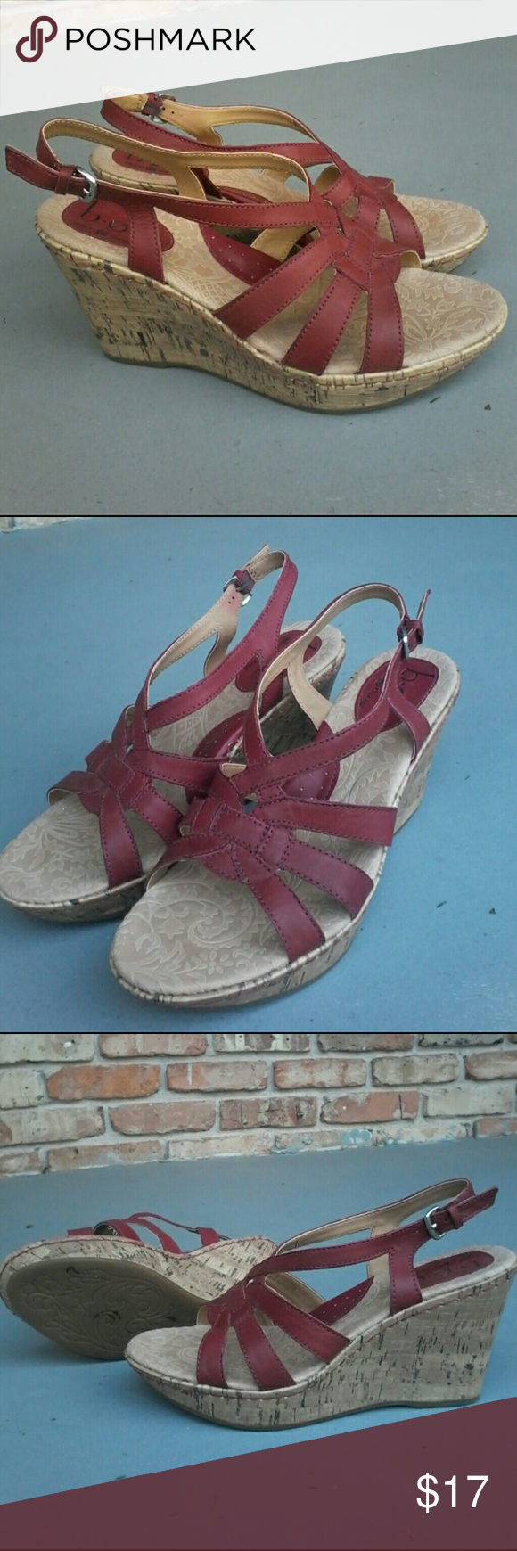 B.O.C. maroon leather platform sandals 4 inch This is a fantastic pair of boc born concept 4 inch maroon leather platform sandals in super clean condition at a very low price Born Shoes Platforms