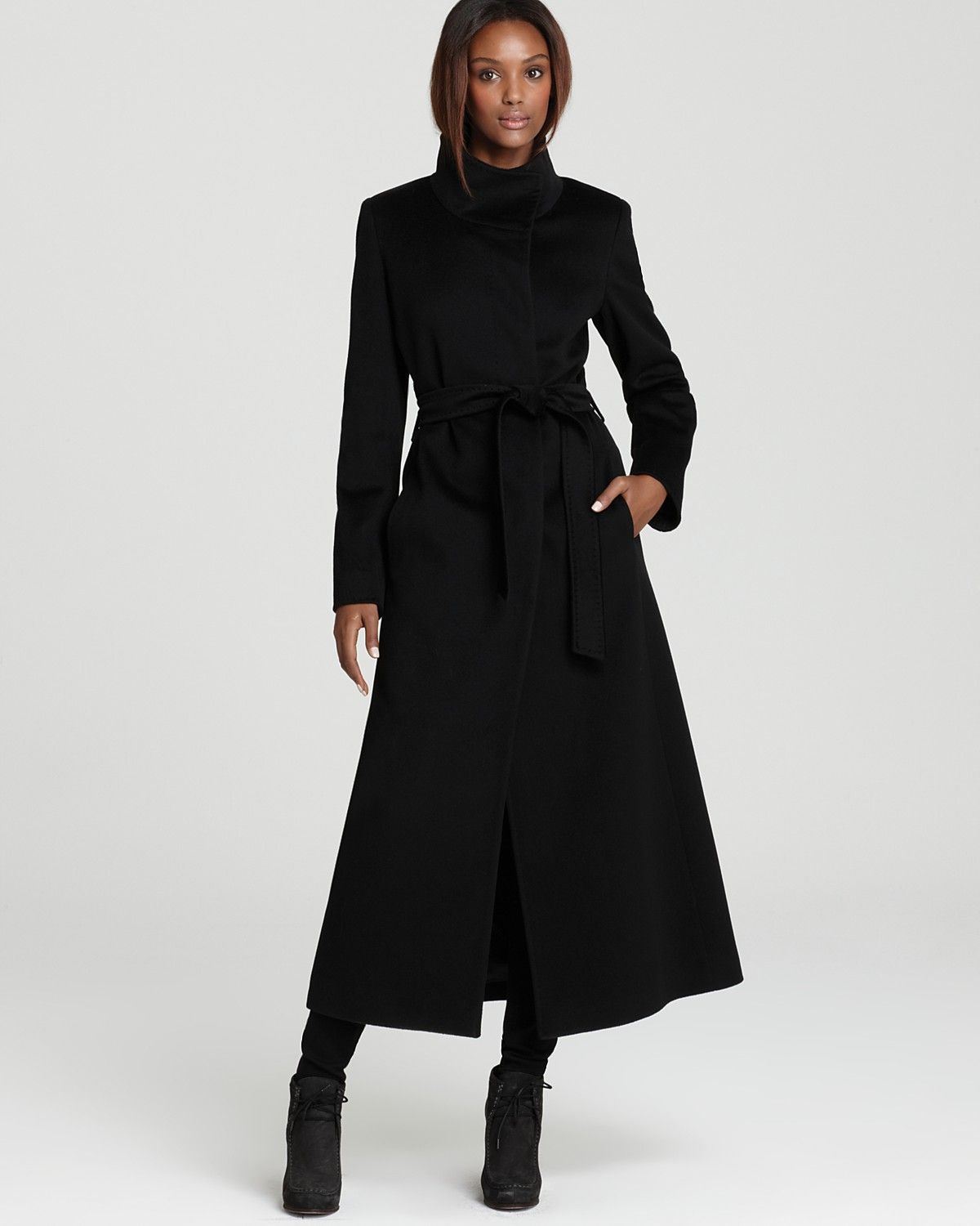Ladies Maxi Coat | Cinzia Rocca Wool Belted Maxi Coat ...
