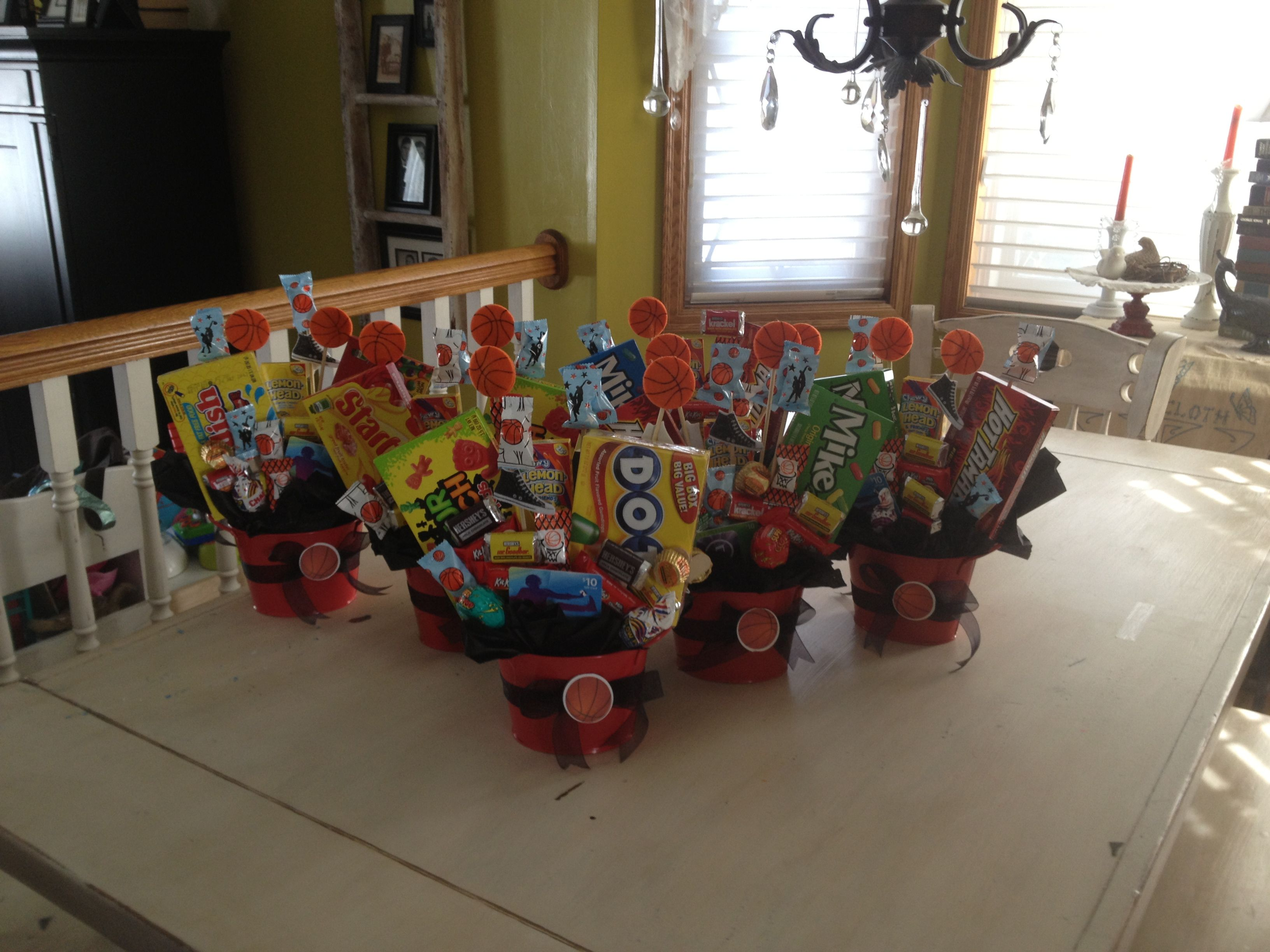 Candy bouquet centerpieces for basketball banquet