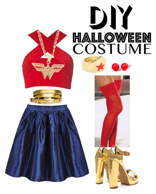"""Wonder Woman DIY costume!"" by tanisi-mittal ❤ liked on Polyvore featuring Motel, Dreamgirl, Hring eftir hring, halloweencostume and DIYHalloween"