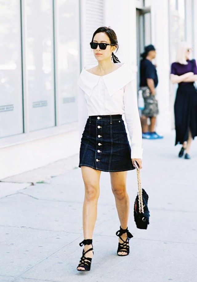 c39cc83db351a Pair a denim button-down skirt with a white off-shoulder blouse and black  lace-up heels