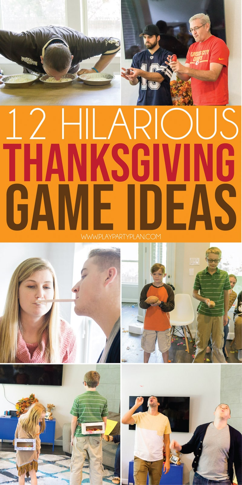12 Hilarious Thanksgiving Games for All Ages  Play Party Plan - Fun thanksgiving games, Thanksgiving games, Funny games for groups, Thanksgiving games for kids, Thanksgiving games for adults, Thanksgiving fun - The best Thanksgiving games ever! 12 hilarious Thanksgiving party games that both kids and adults will love  perfect for Thanksgiving or Friendsgiving!