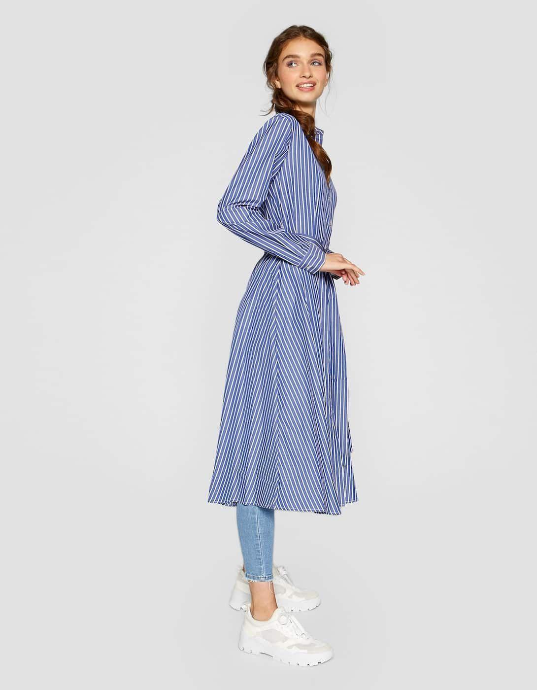 Μακρύ ριγέ φόρεμα σεμιζιέ  064afa699d3