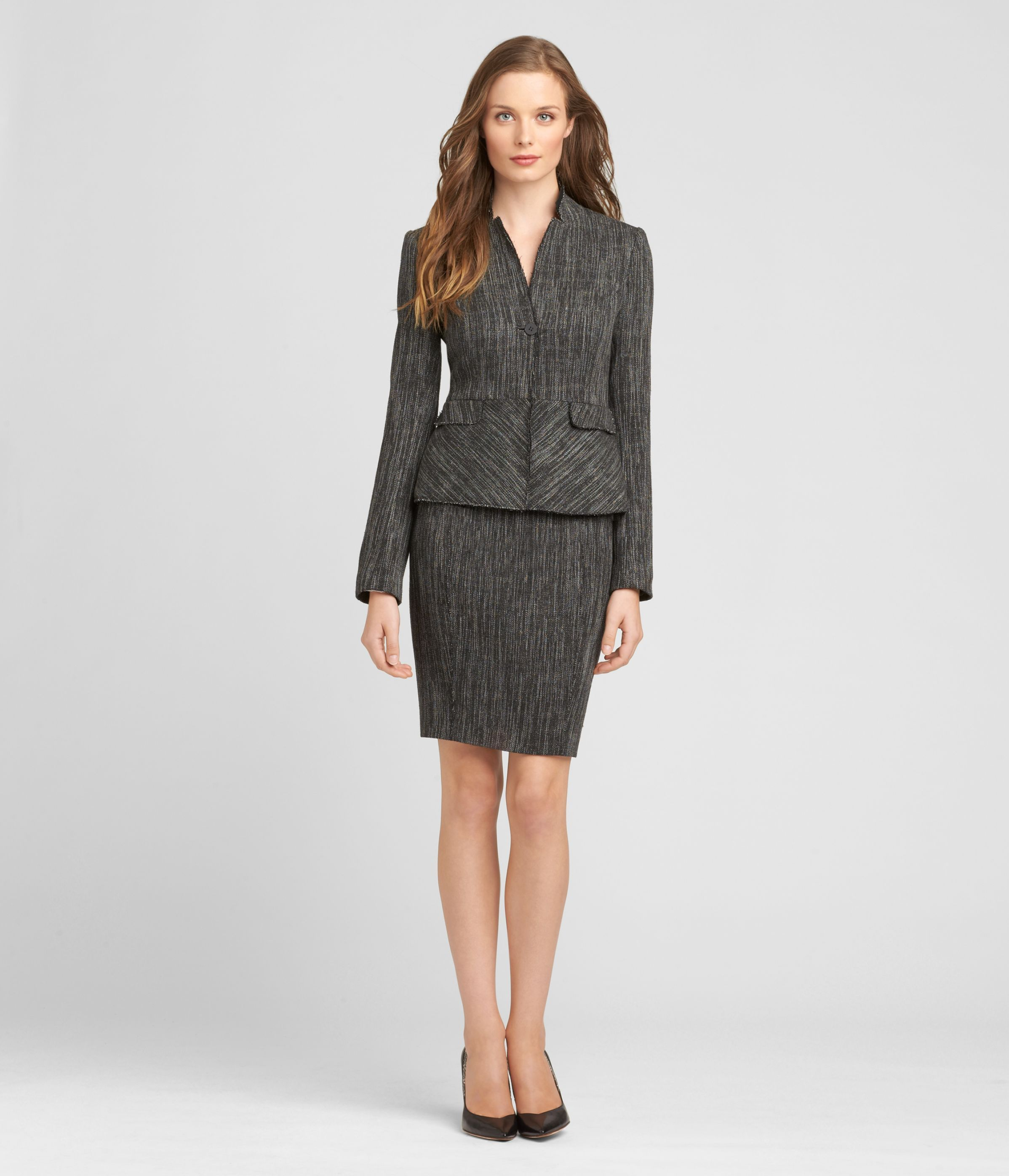 BLACK & WHITE TWEED SKIRT SUIT