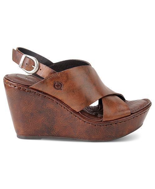 Born Shoes, Emmy Platform Wedge Sandals - Comfort - Shoes - Macys ...