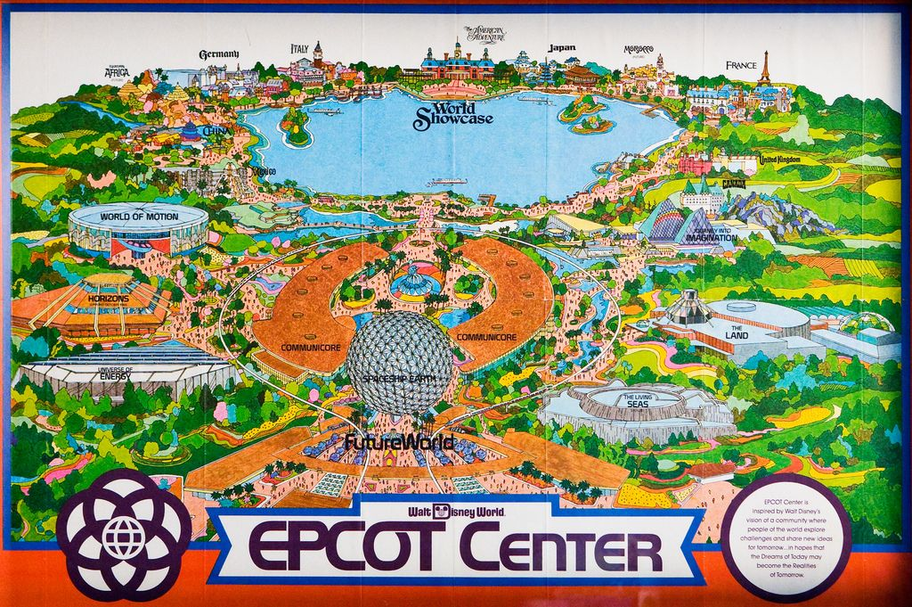 1982 EPCOT Center Fold out Map | Geeky | Disney world map, Epcot ...