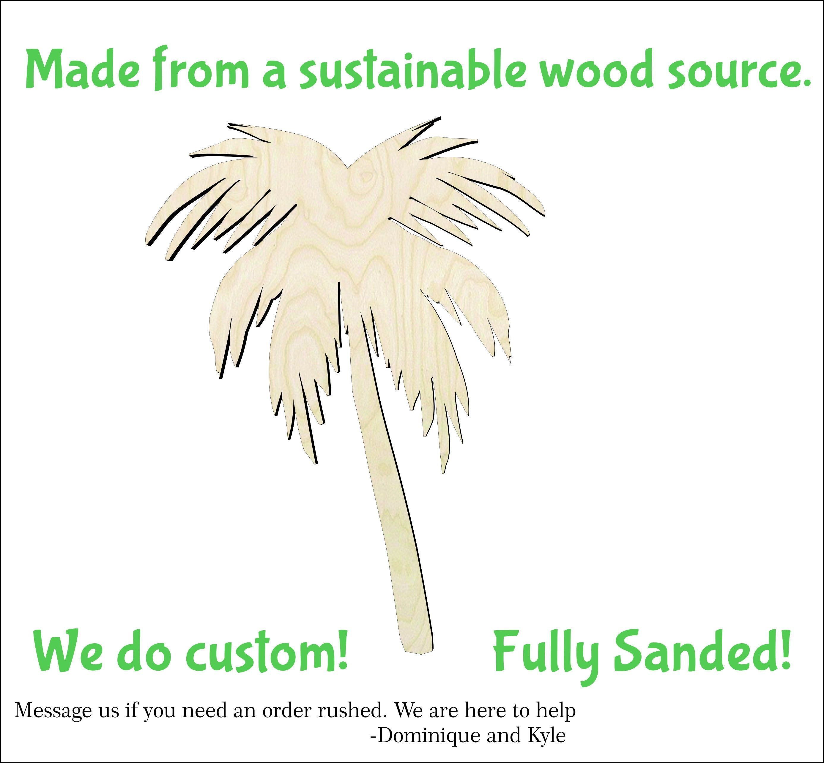 2 20 Palm Tree Cutouts Wood Craft Supply Sanded On Both
