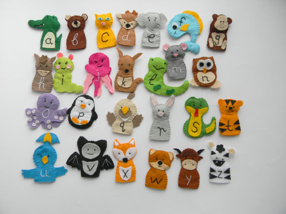26 Zoo Phonics Animals Felt Finger Puppets Wool Felt Finger Etsy Felt Finger Puppets Zoo Phonics Finger Puppets