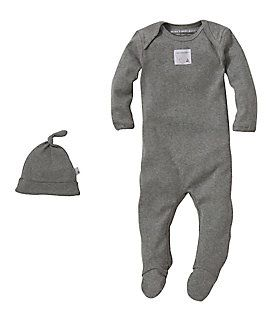 Bee Essential Footie Coverall & Knot Top Hat Set: Color - Heather Grey