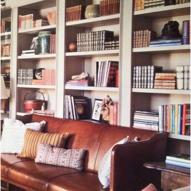 Leather sofa.  book shelves