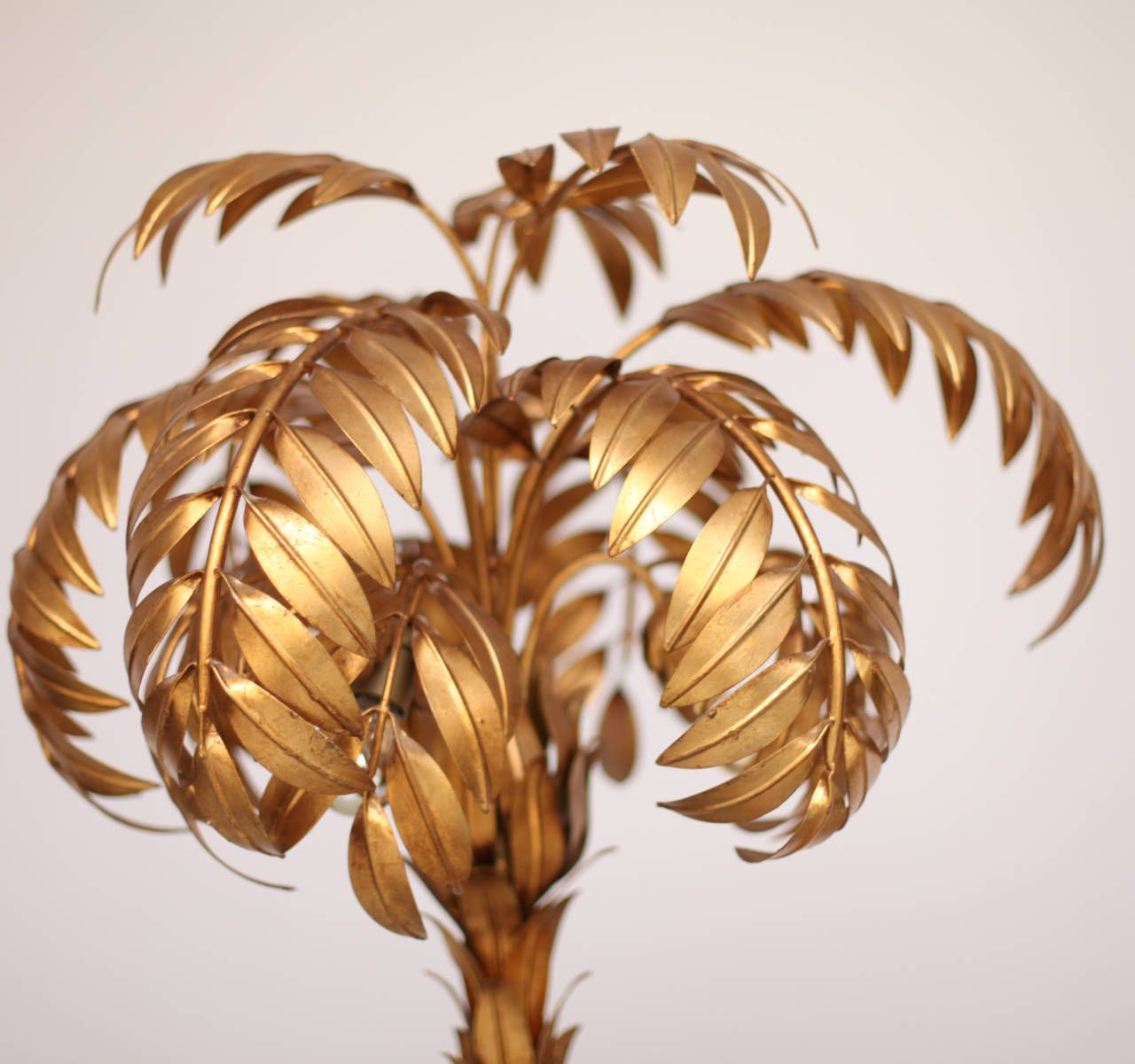 Huge Gilt Metal Two Trunk Palm Tree Floor Lamp By Hans Kogl