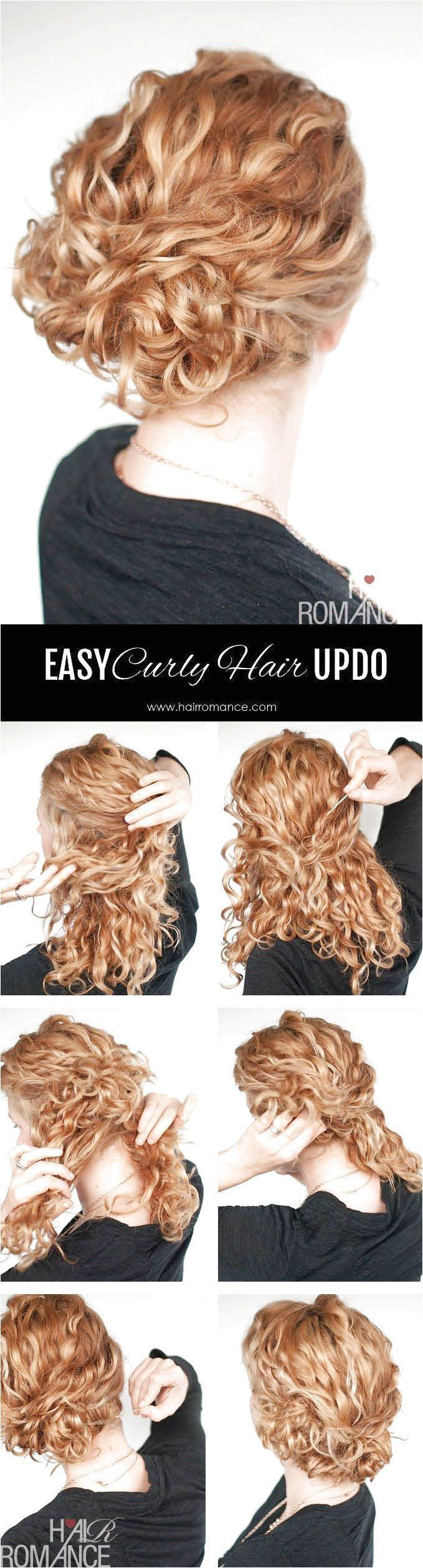 Super Easy Updo Hairstyle Tutorial For Curly Hair Separate A Section On Top Of Your Updo Hairstyles Tutorials Easy Updo Hairstyles Tutorials Curly Hair Styles