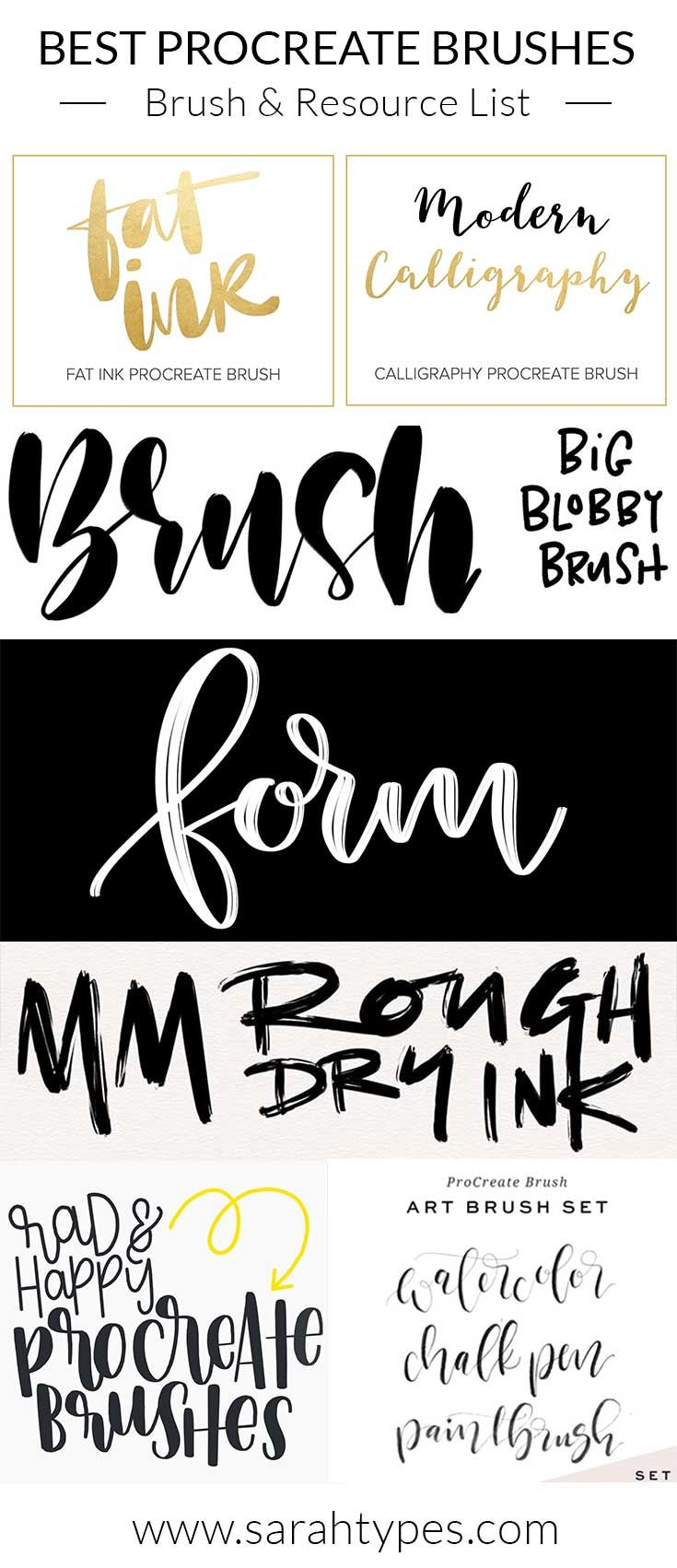 Ultimate Brush List For Procreate App Lettering Lettering