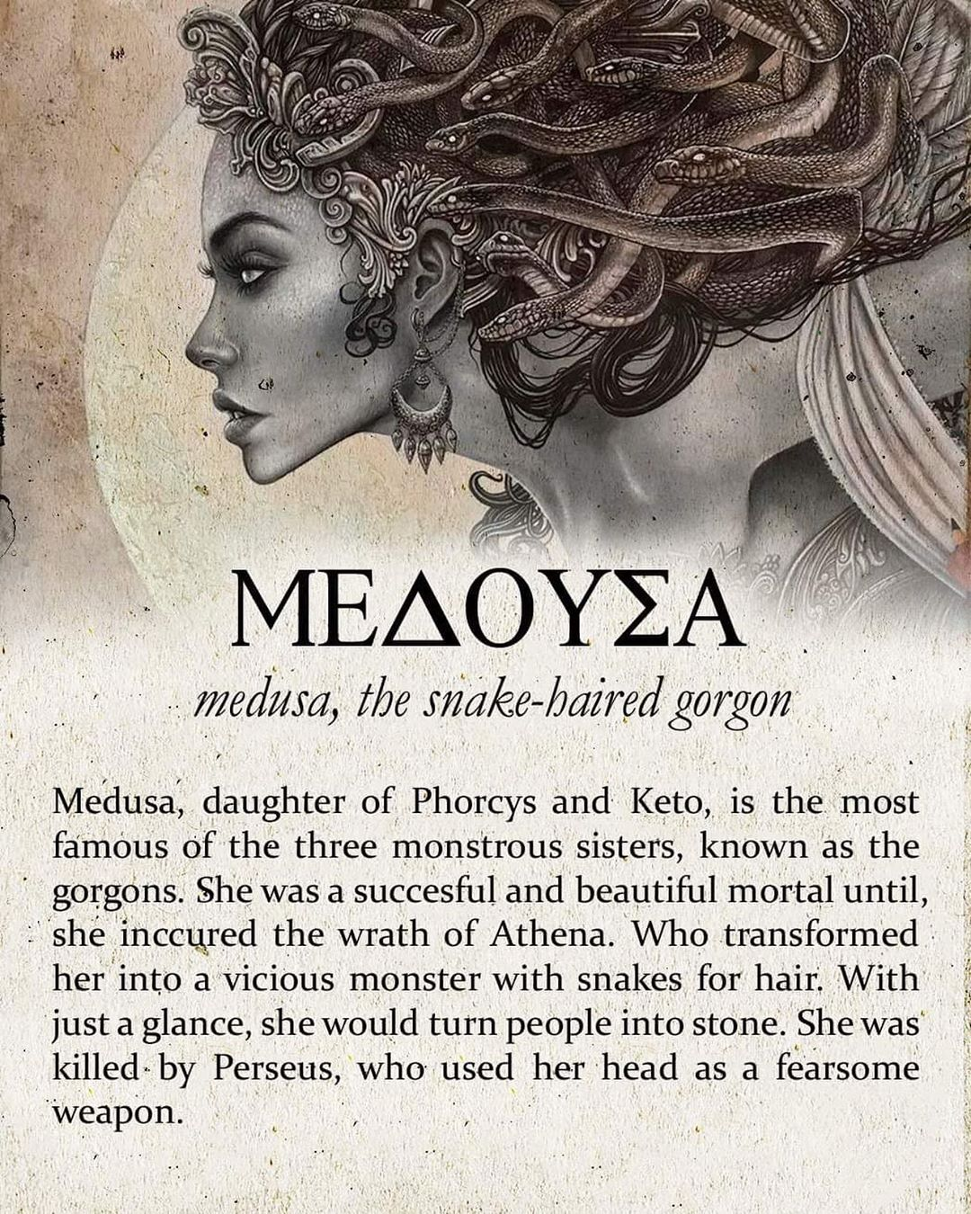 Medusa, the snake-haired gorgon ???? Follow @greeklore⚔️(me