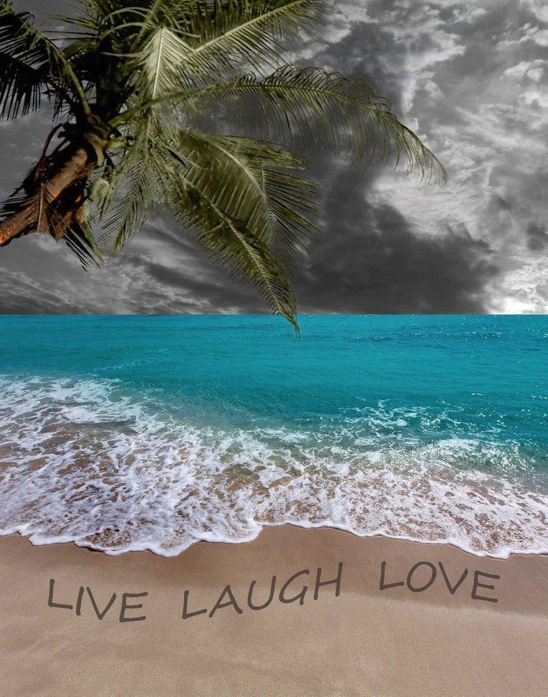 Coastal Wall Art Beach Live Laugh Love Palm Tree Home Decor Matted Picture Handmade Modernism Beach Wall Art Coastal Wall Art Live Laugh Love