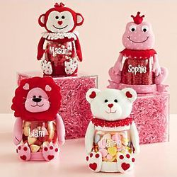 personalized valentine plush character treat candy jar 1499