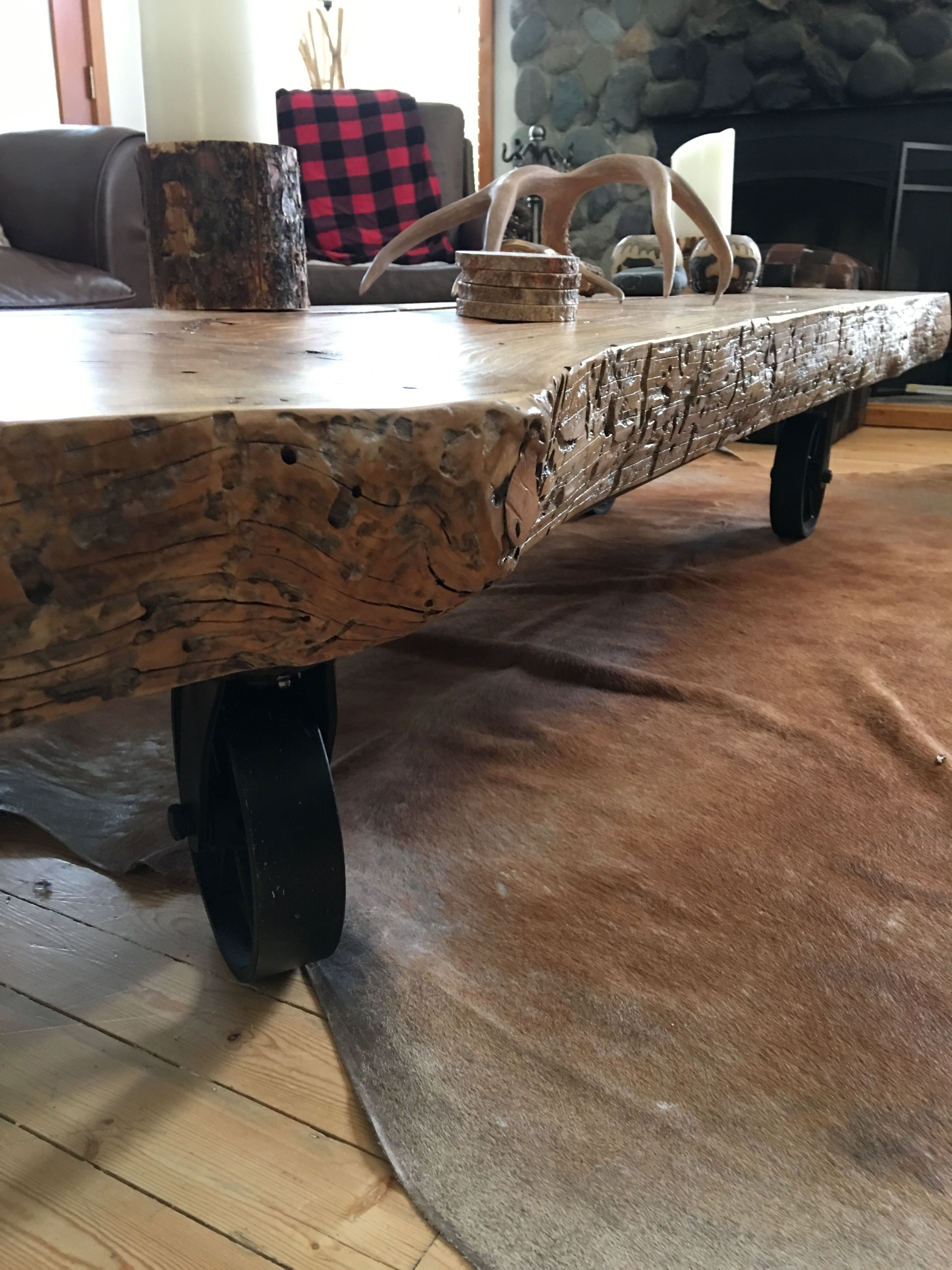 Antique japanese tea table  Live edge coffee table with large casters  FIVENGS Design