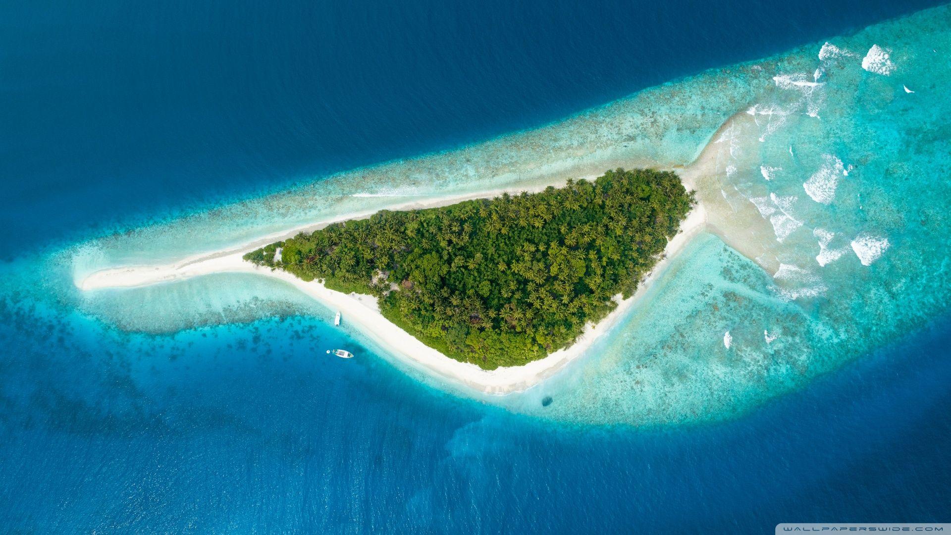 Maldive Fish Island Aerial Photography Hd Wallpaper 1920x1080