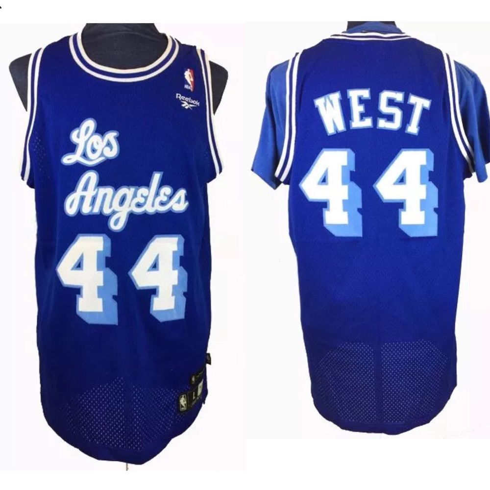 9573d0863 Jerry West 1961 62 Los Angeles Lakers Jersey Men L Hardwood Classic reebok   44
