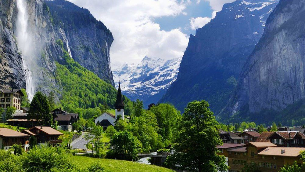 Lauterbrunnen Valley of waterfalls in Switzerland