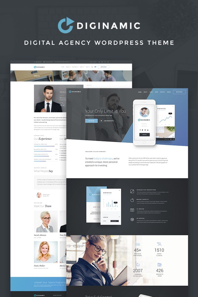 Diginamic Digital Company Wordpress Theme 66912 Wordpress Theme Small Business Web Design Wordpress Theme Design