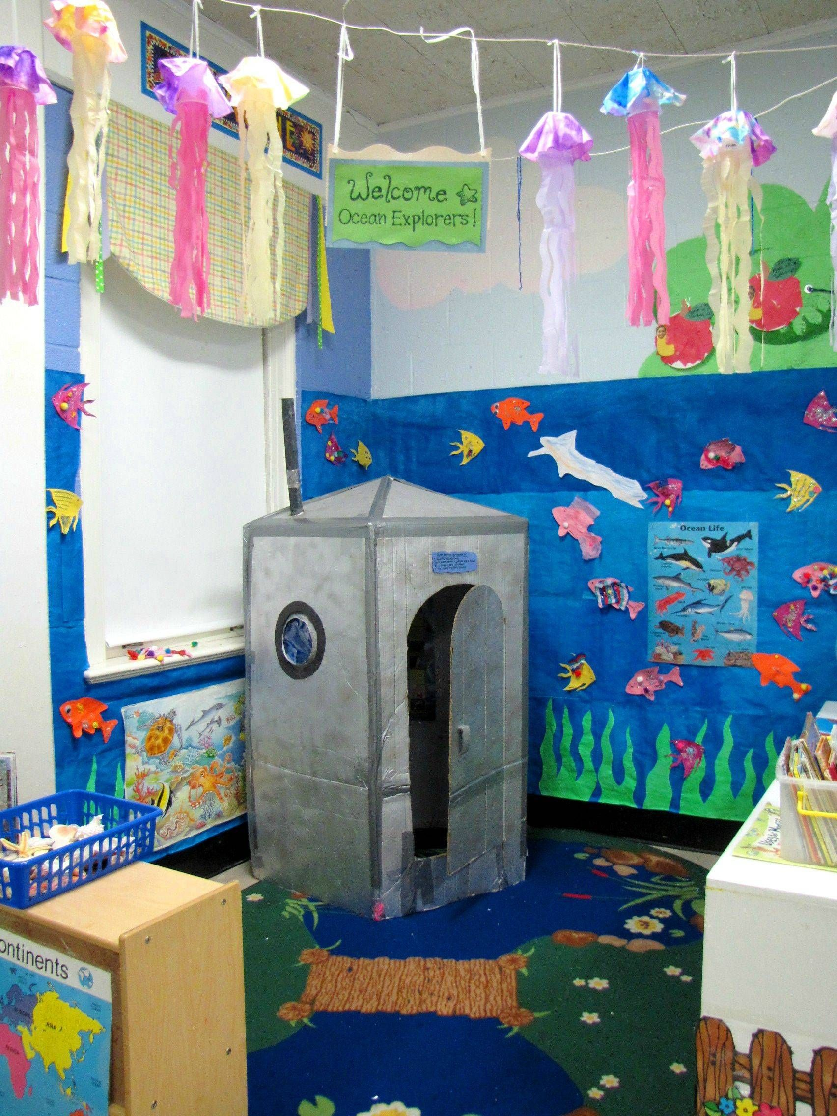 Ocean Classroom Decor ~ Made a submarine out of cardboard box and then had my
