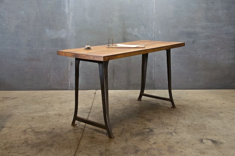 1930s Industrial Work Table With Maple Top. 61w X 26d X 33.5h. Modern50
