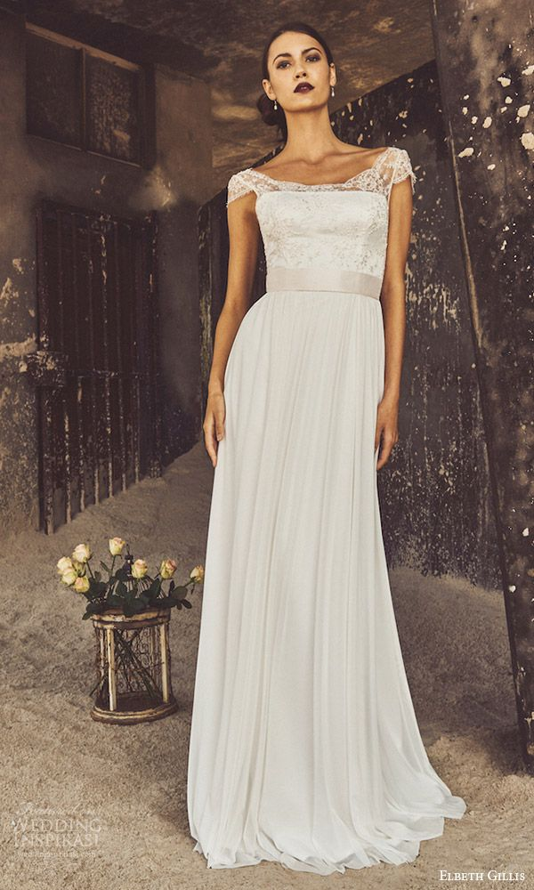 ELBETH GILLIS bridal 2017 cap sleeves aline wedding dress (claire) fv lowback train  #bridal #wedding #weddingdress #weddinggown #bridalgown #dreamgown #dreamdress #engaged #inspiration #bridalinspiration #weddinginspiration #weddingdresses