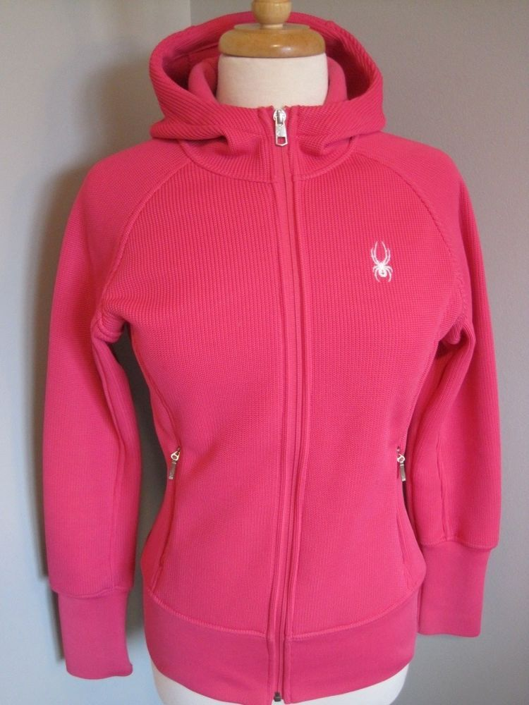 Spyder Core Sweater Jacket Pink Full Zip Polyester Womens Size