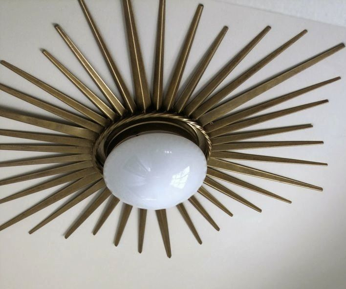 If you remember on my 2014 to do list was a spruce up of our entry including a diy ceiling light this gold sunburst flush mount light was on my radar b
