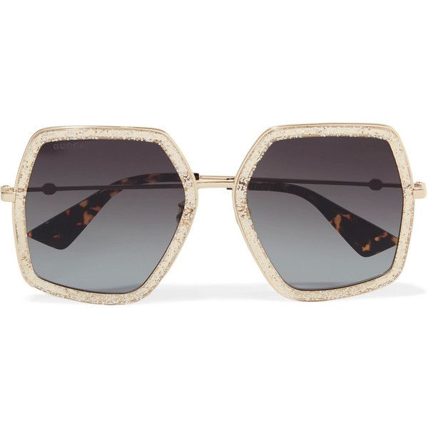 Crystal-embellished Square-frame Gold-tone Sunglasses - one size Gucci FxFYz