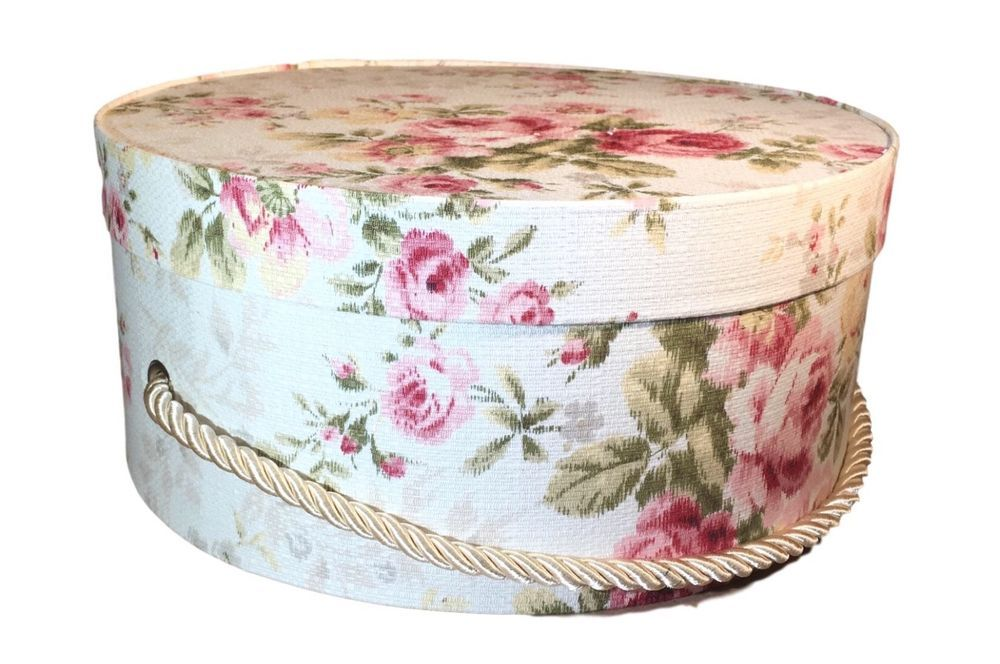 Hat Box in Pink Floral Fabric, Hat Boxes, Round Box, Storage