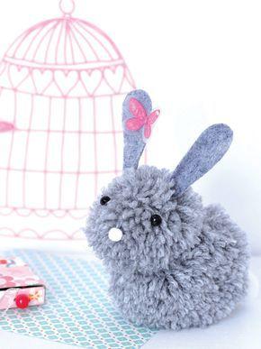 un lapin en pompons ptite brico sympa pinterest. Black Bedroom Furniture Sets. Home Design Ideas