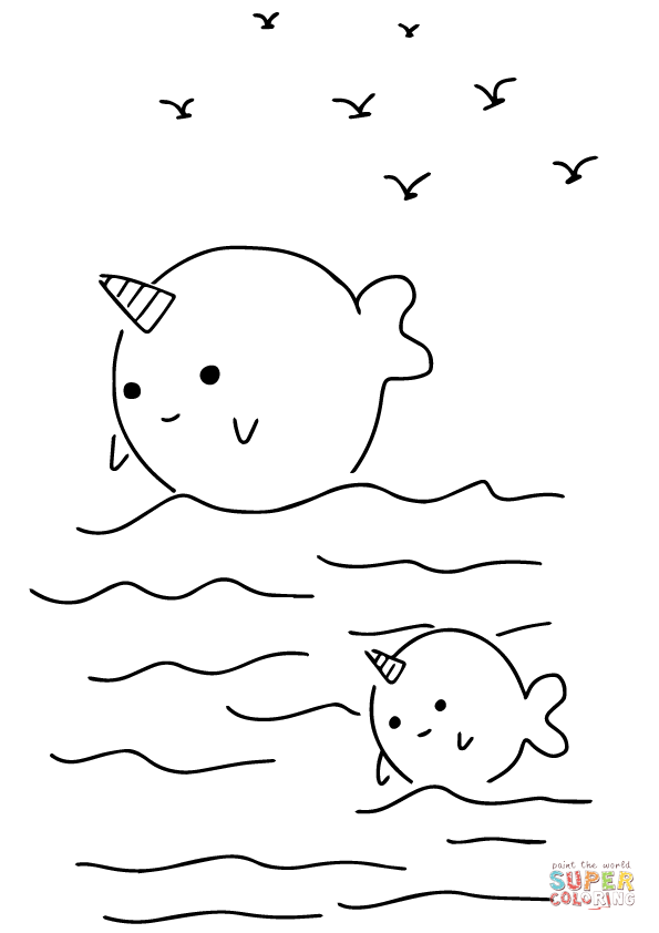 Kawaii Narwhals Coloring Page Free Printable Coloring Pages Whale Coloring Pages Coloring Pages Printable Coloring Pages