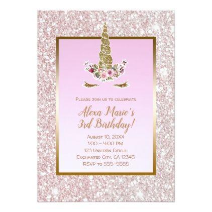 Bridal Shower Invitations White Pink Glitter Gold Unicorn Birthday Party Card Unicorn Birthday Parties Unicorn Birthday Unicorn Birthday Party Invitation