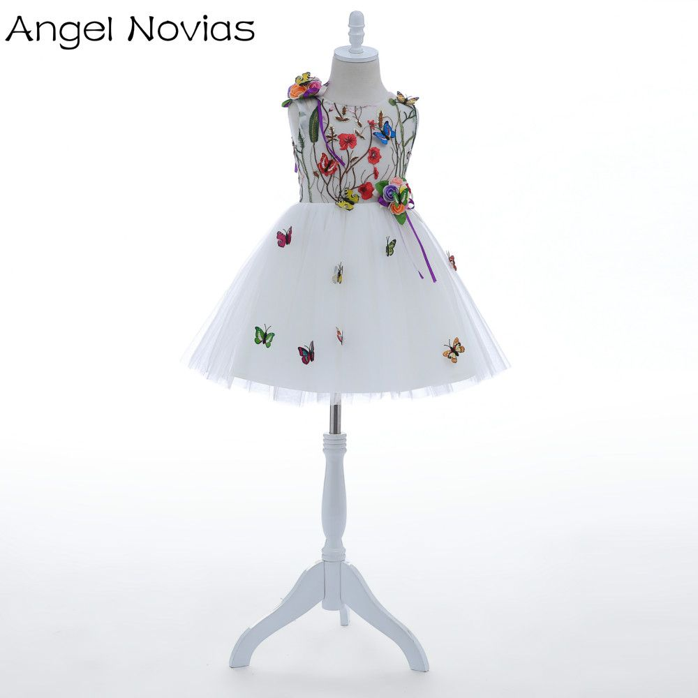Angel novias short cute white flower flower girls dresses with
