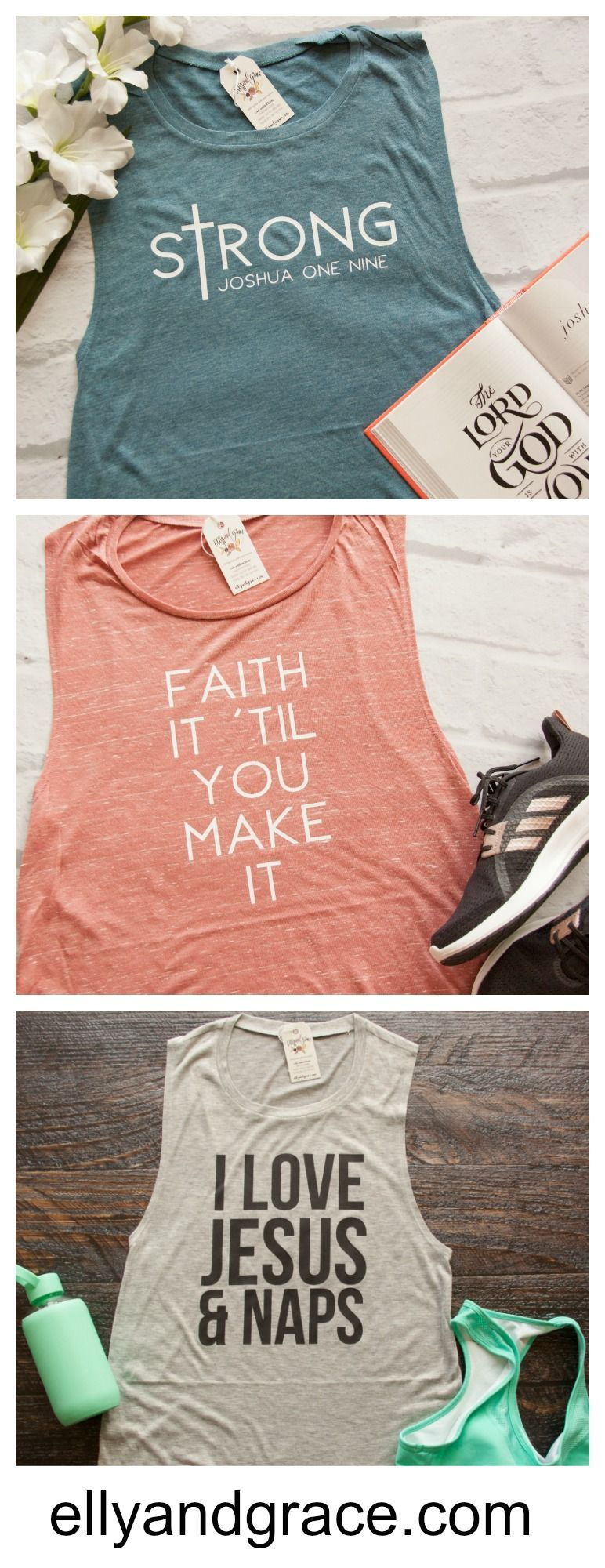 09b8f89f13f345 NEW muscle tanks by ellyandgrace! We love these christian tank tops for  women!
