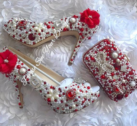 8e1e3a6e753 Red Swarovski and Pearl Wedding Heels - Pearl Wedding Shoes - Red ...