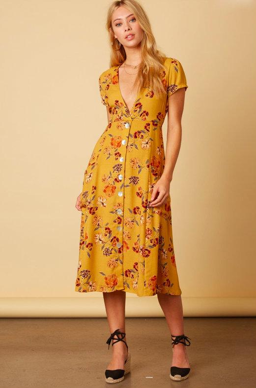 717637cd5c7c Love Life Mustard Floral Print Midi Dress in 2019 | The New Boho ...