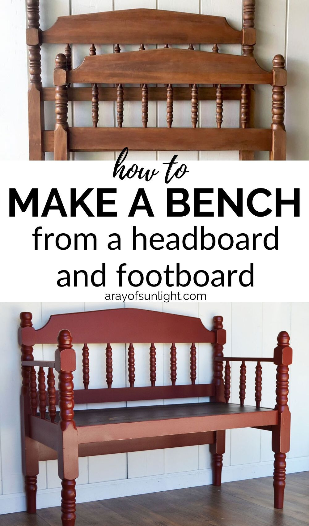 How to Make a Bench from a Headboard and Footboard