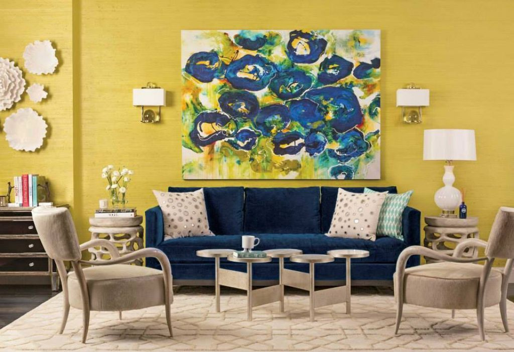 Eclectic Living Room Decorated With Abstract Wall Painting Art In The  Yellow Walls Near Wall Sconces
