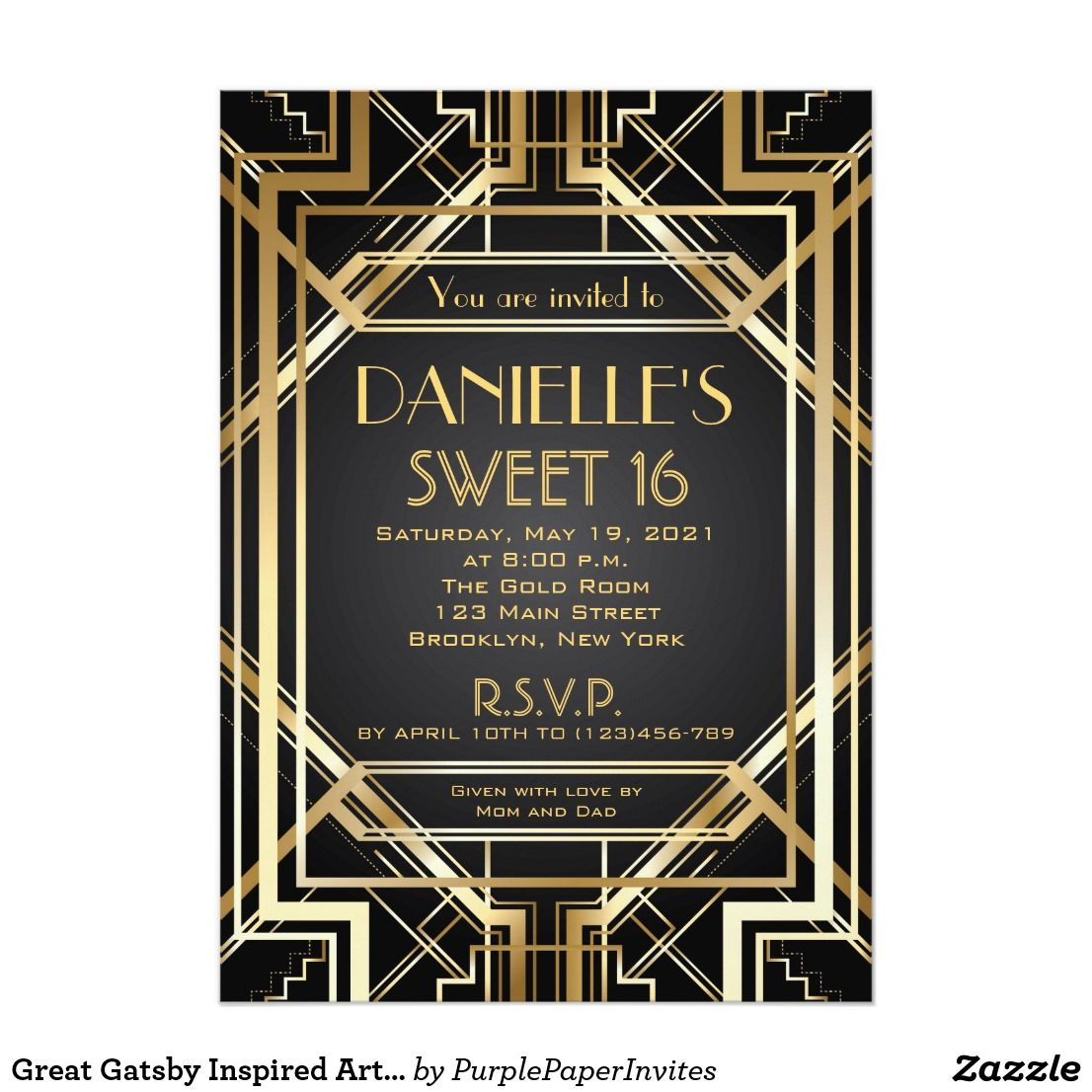 Great Gatsby Inspired Art Deco Sweet 16 Invitation | Sweet 16 ...