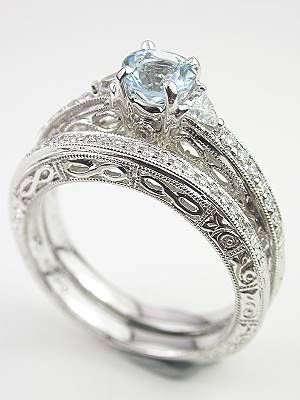 Antique Style Filigree Wedding Band Set I Love Everything About This Setup Except Really Want A Traditional Diamond