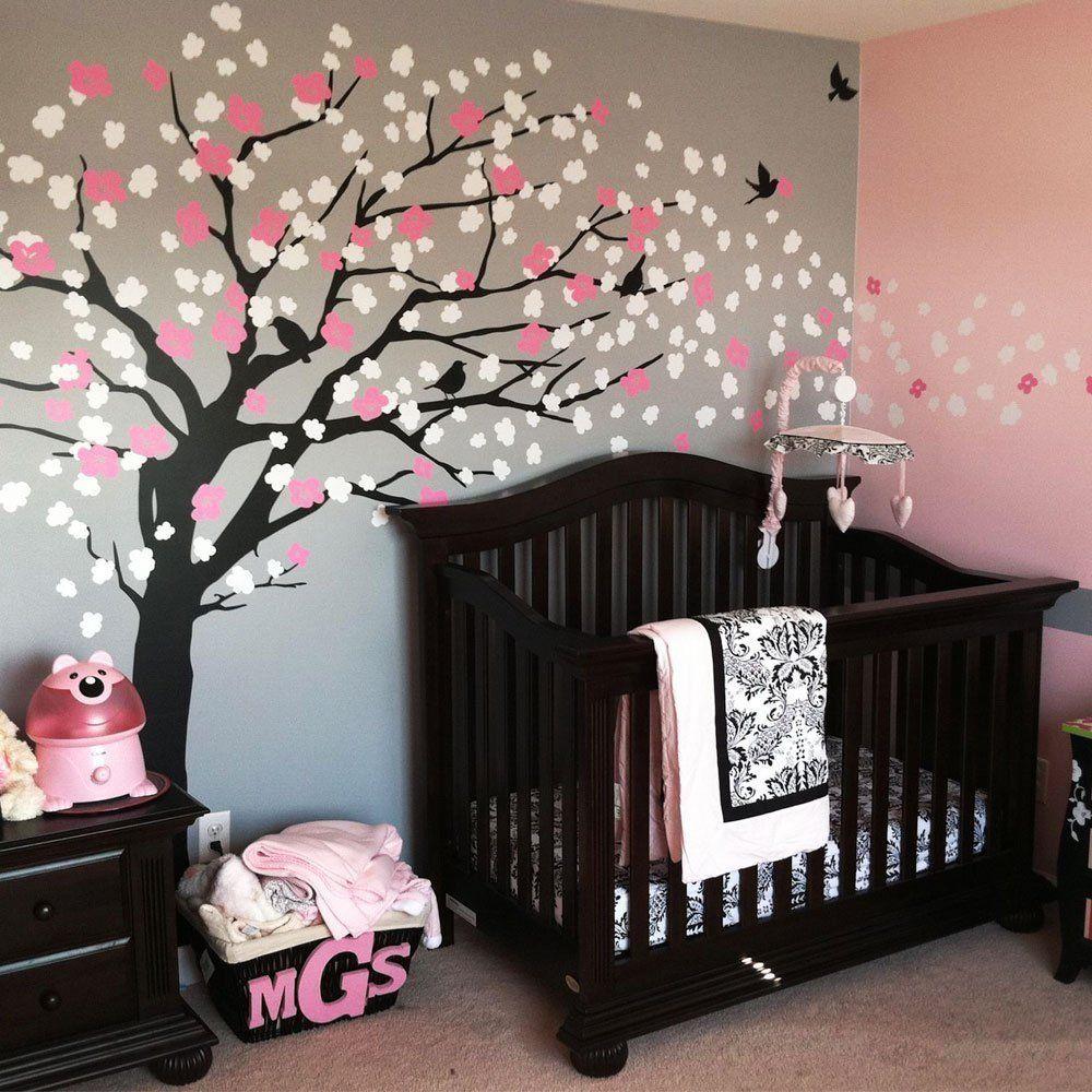 w093 marrn rbol de flor de cerezo para nursery decor vinilo tatuajes de pared para nios - Flor Decor