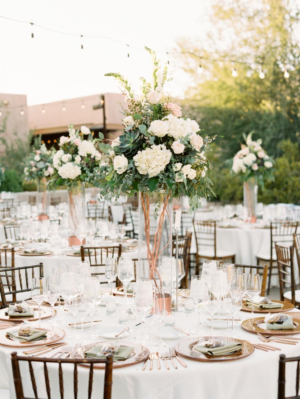 A Blush And Copper Cactus Themed Wedding #tabledecor #tallcenterpieces #weddinginspo #tabledecor