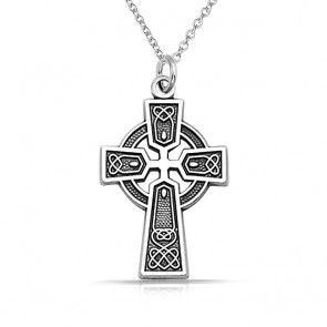 Solid 925 Sterling Silver Claddagh Cross Pendant Charm 14mm x 30mm