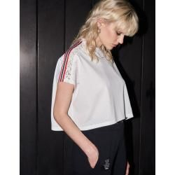 Photo of The Kooples – Weißes Baumwolltop mit kontrastierenden Streifen – Herrenthekooples.com